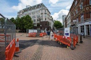Temporary in-filling in Victoria Square.
