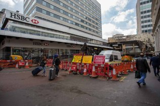 Metro works in Stephenson Place off New Street.