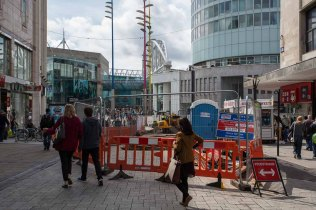 Trenching in High Street shows shoppers going to and from Bullri
