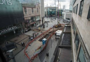 Elevated view of trenching on corner of New Street and High Stre