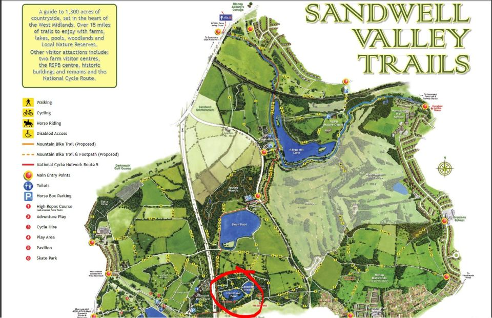 Sandwell Valley Country Park Map