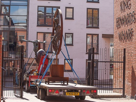 Loading finished and exiting the courtyard