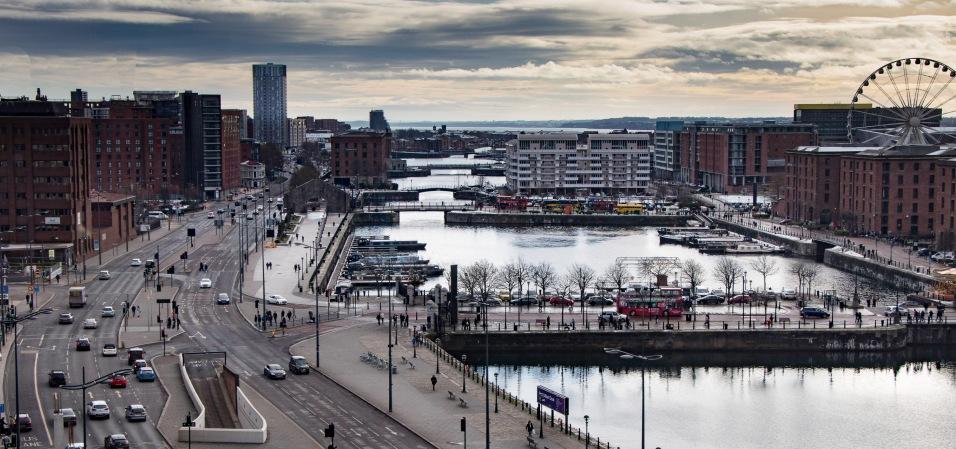 Albert Dock on the left then ahead Salthouse Dock, Dukes Dock, Wapping Dock and Queens Dock...