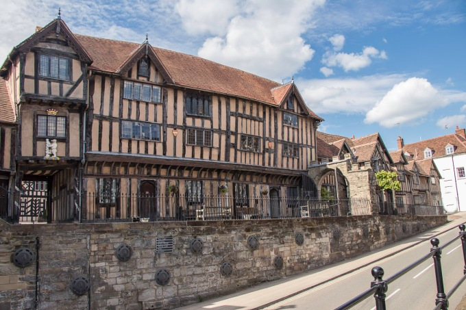 Lord Leycester Hospital in SW end of High Street...
