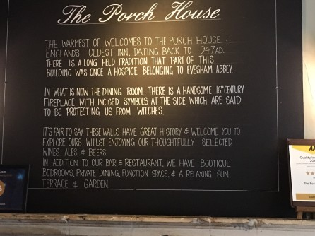 About the Porch House restaurant